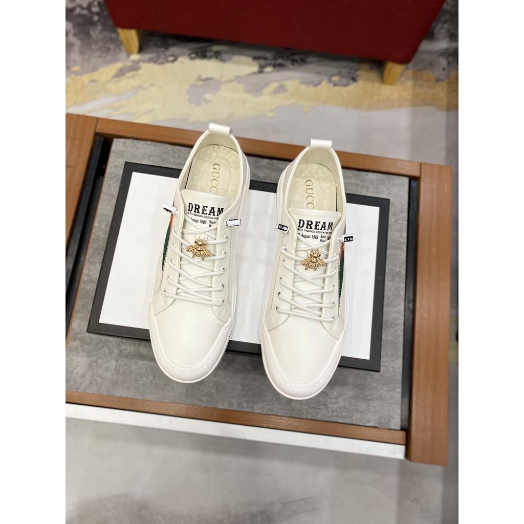 GUCCI 小蜜蜂鞋子 古馳小白鞋 明星同款Embroidered Sneaker 蜜蜂鞋 小白鞋 男女款