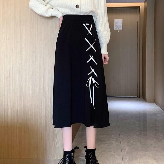 高腰長裙 半身長裙 過膝長裙 寬鬆 chic 設計感綁帶小黑裙中長款A字裙子女裝潮
