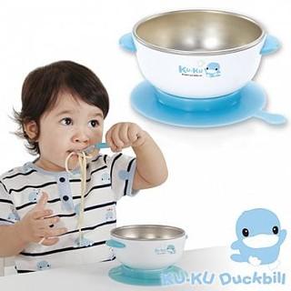 【KU.KU酷咕鴨】304不鏽鋼隔熱吸盤碗-藍 粉