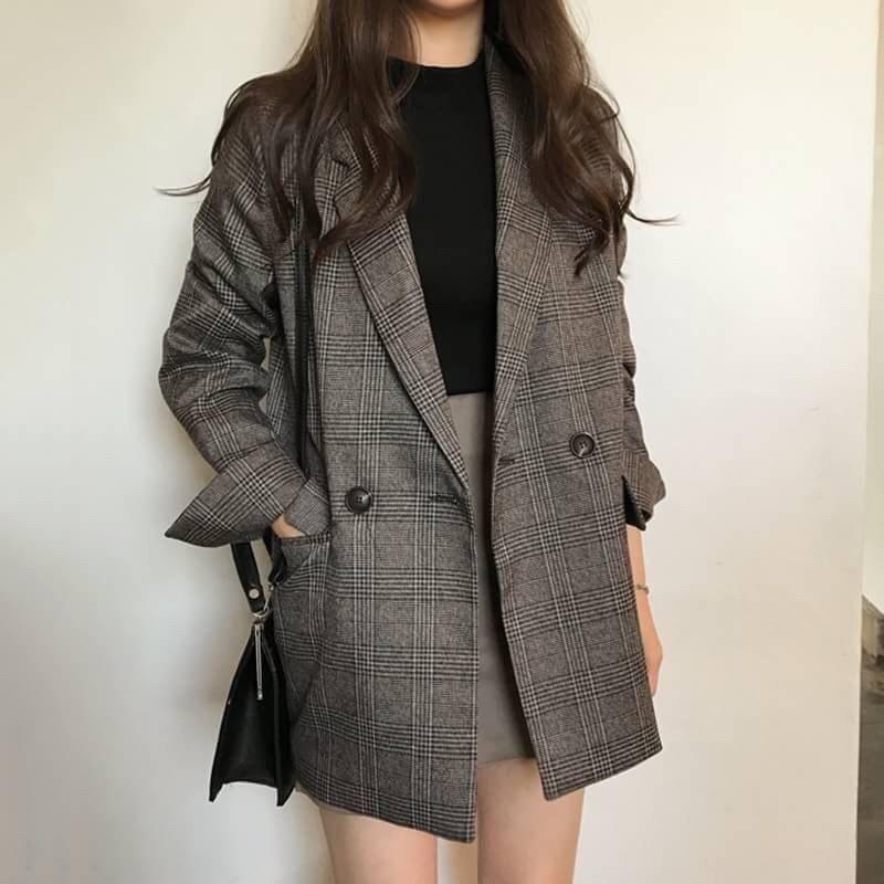 韓國 現貨 俐落翻領格紋西裝外套