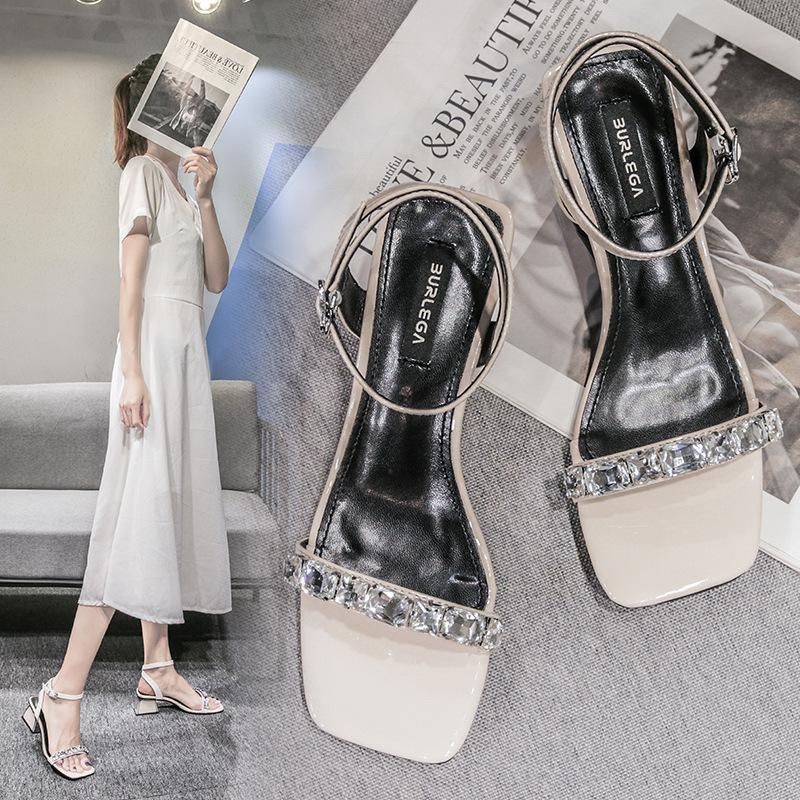 【新店特惠】春夏新款 韩版2021新款夏季网红方头水钻粗跟一字扣凉鞋女百搭仙女凉鞋中跟