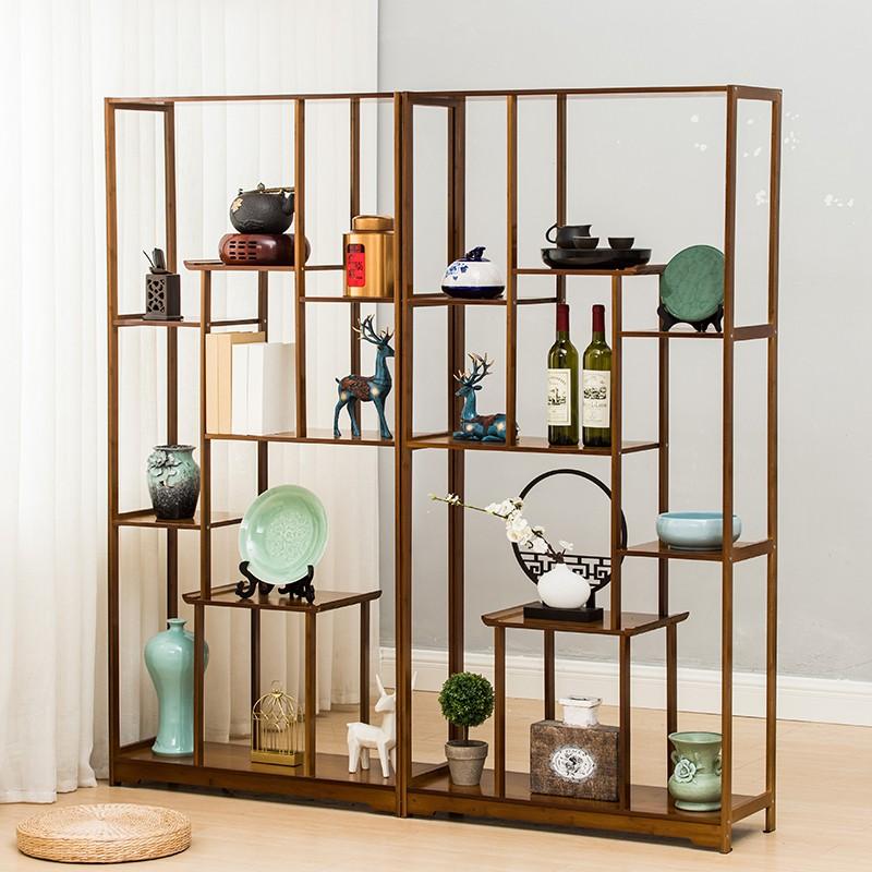 【現貨】博古架實木中式紅酒架現代簡約展示柜古董架子茶葉架茶具柜置物架
