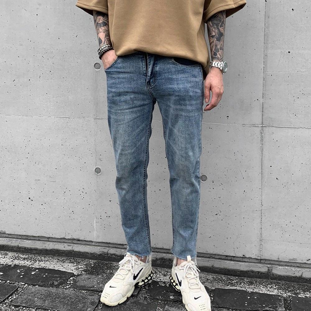 【K-2】水洗 不修邊 素面 牛仔褲 穿搭 牛仔長褲 褲管不修邊 修身 牛仔 帥【KD50】