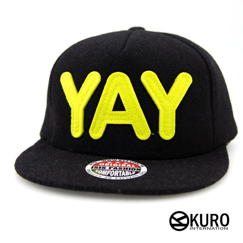 KURO-SHOP潮流新風格 黑色 毛料 螢光字 YAY 貼布 棒球帽 板帽
