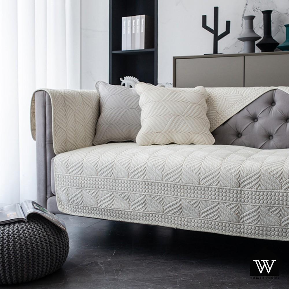 【好物良品】全棉刺繡沙發墊組合北歐輕奢四季通用防滑防髒沙發罩蓋巾 - 白色|幾何織紋系列