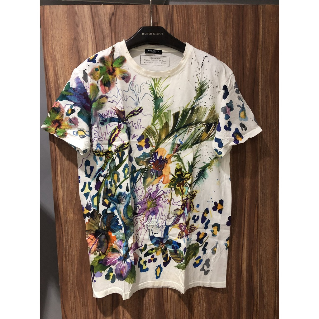 Balmain HOMME 喷墨 彩色 刷破 T-Shirt 短袖上衣 Size:L