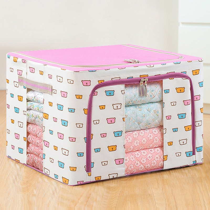 【66L/100L】韓式大號衣物箱整理箱2件套 可折疊衣物收納袋 雙視窗透明鋼架防水防潮牛津布被子收納箱
