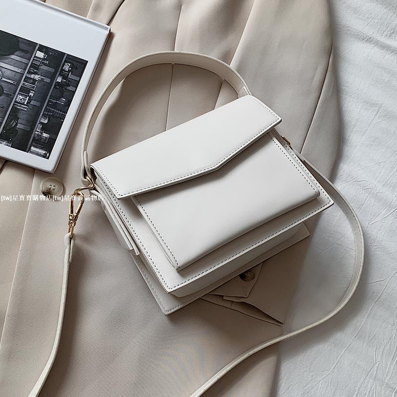 韓國極簡風格小方包 純色復古斜背包 百搭肩背包側背包 質感手提包 兩用包星寶寶購物店