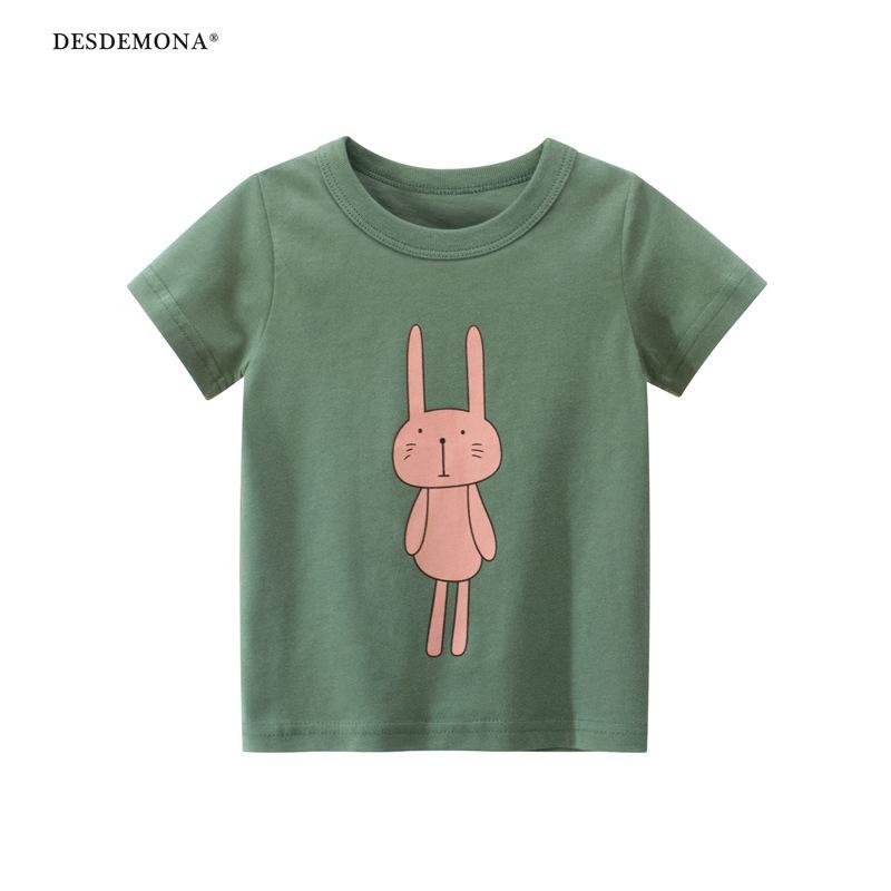 品牌韓版童裝大廠出品 兒童短袖T恤2021新款女寶寶衣服純棉短袖上衣 卡通T恤