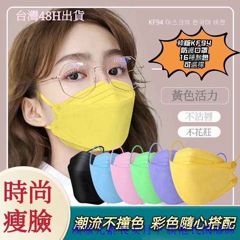 【TW48h出貨】網紅韓國kn94口罩一次性口罩魚型口罩3D立體口罩四層口罩成人口罩折疊口罩韓國口罩