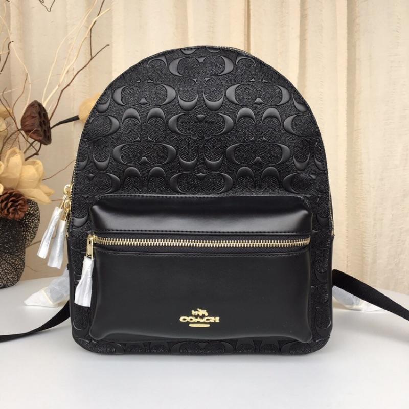 美國代購 Coach 32083 新款 浮雕全牛皮 中號雙肩包 簡單大方 大容量 時尚款後背包 附購證