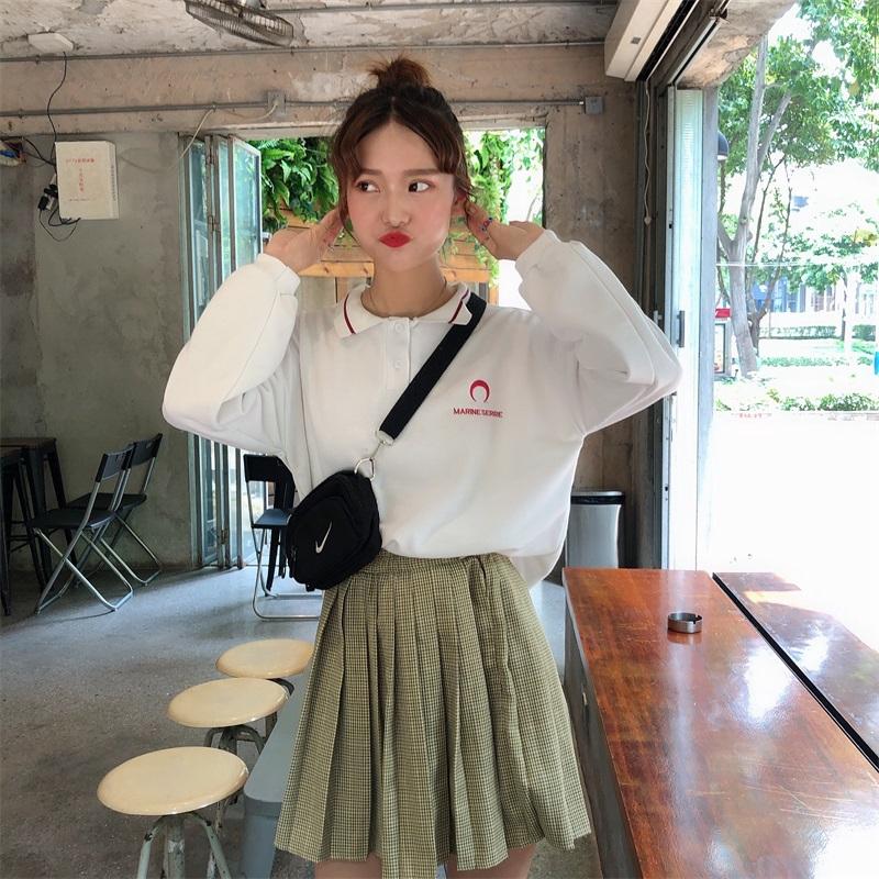 [嬌戀主角]大學t 刷毛加厚 POLO領刺繡上衣 外套 韓系 打底衫 寬鬆 顯瘦 閨蜜裝 班服 情侶穿搭 女生衣著