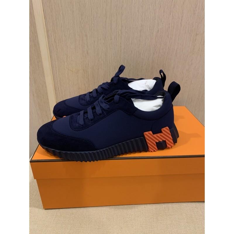 全新 hermes H logo 藍橘H運動鞋37
