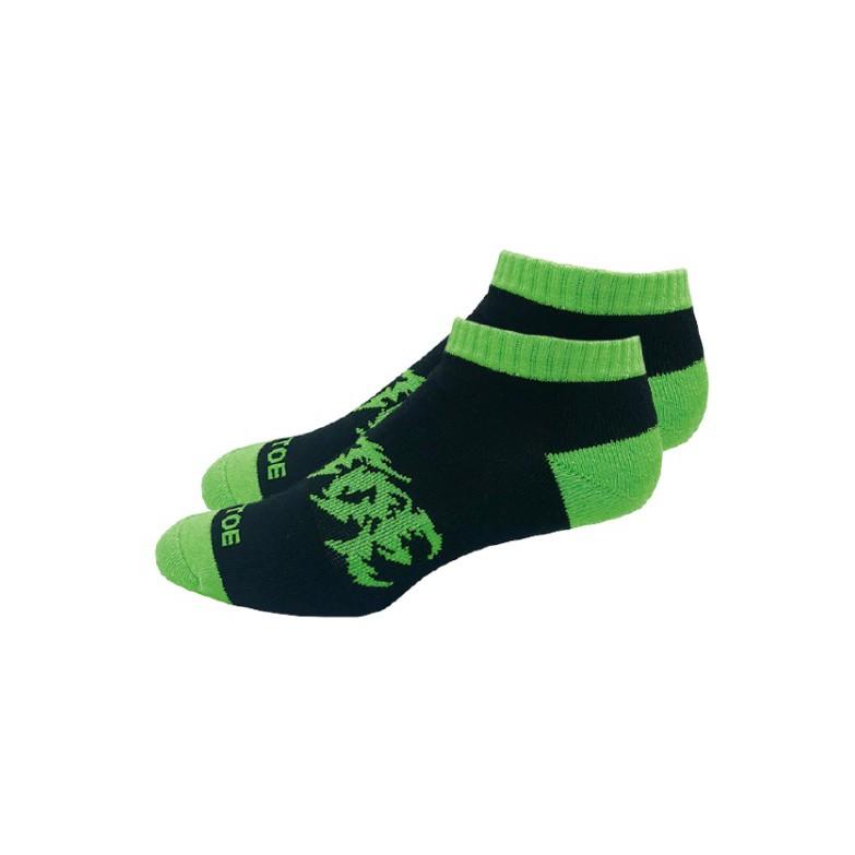 Air Toe 黑底綠腳跟搖滾字短襪-黑綠