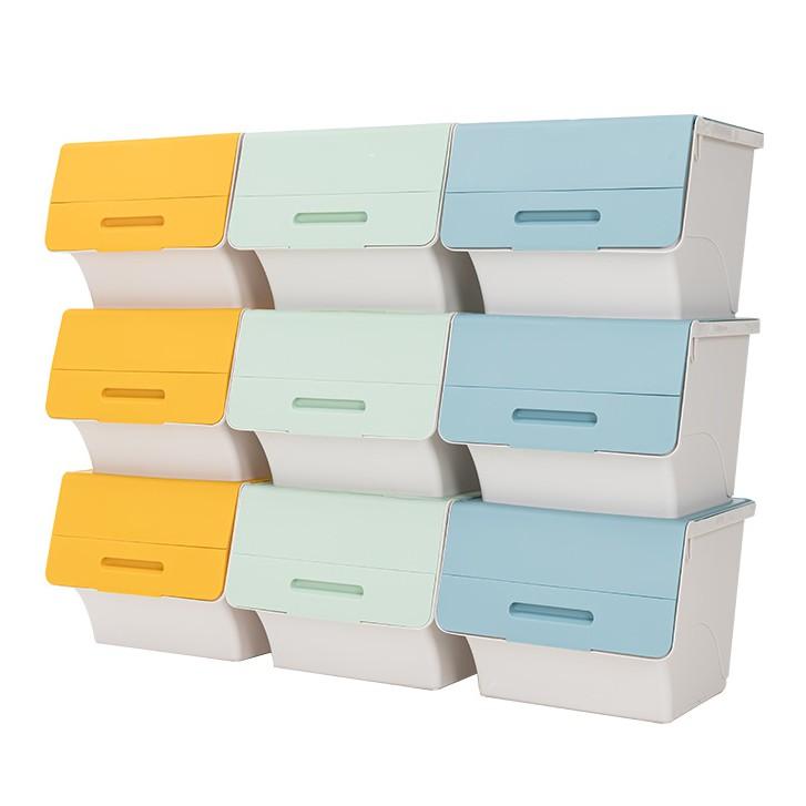 三段式斜口掀蓋收納箱 3入 45L 前開式收納箱 翻蓋式收納箱 整理盒 收納盒 置物箱 衣物收納【MM-I061】