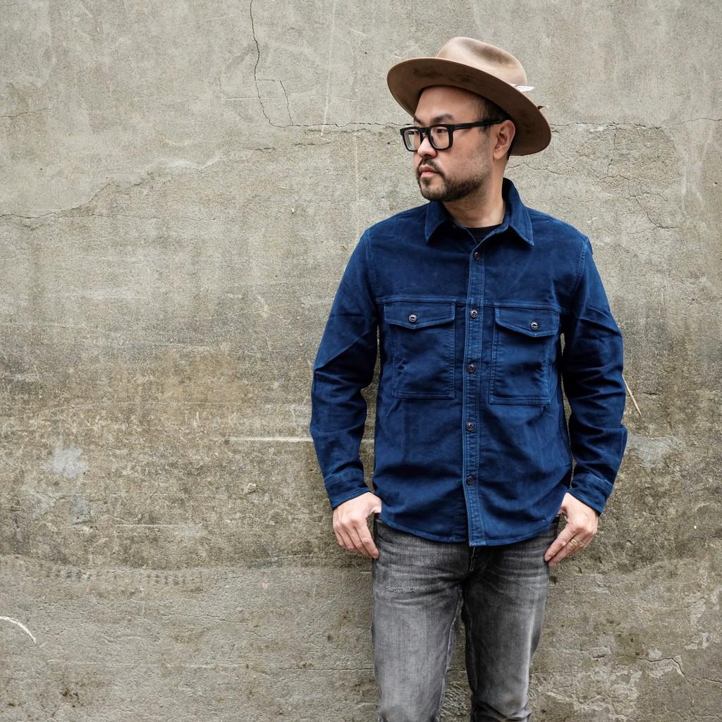 意產新款 COF Studio 重磅INDIGO moleskin 藍染俠客襯衫外套
