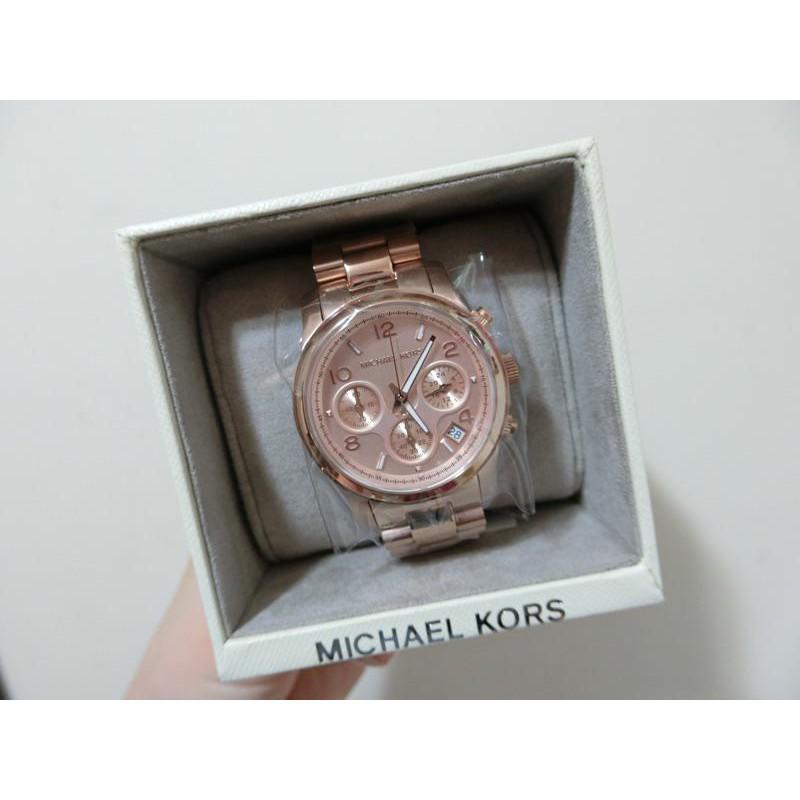 小妹代購 經典 Michael Kors 玫瑰金 MK5128 三眼計時手錶 MK錶 MK手錶