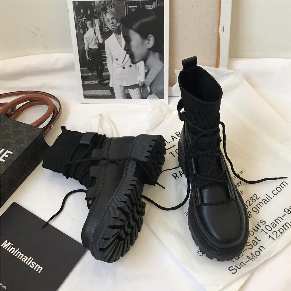 馬丁靴女英倫風網紅中筒靴厚底針織系帶靴子女秋冬新款潮