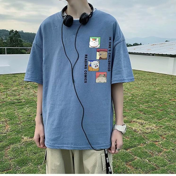 短T T恤男 五分袖T恤 男生短袖T恤 潮流百搭T恤 寬鬆印花T恤 韓版T恤 潮流上衣 貓咪字母印花簡約上衣