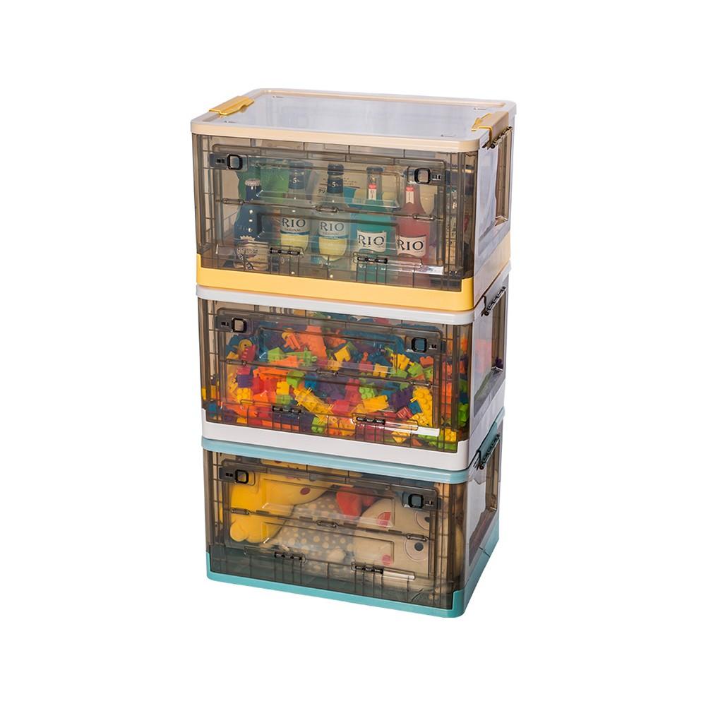 秒殺新品!兒童玩具收納盒筐塑料透明前開式零食整理箱可折疊側開衣服儲物柜