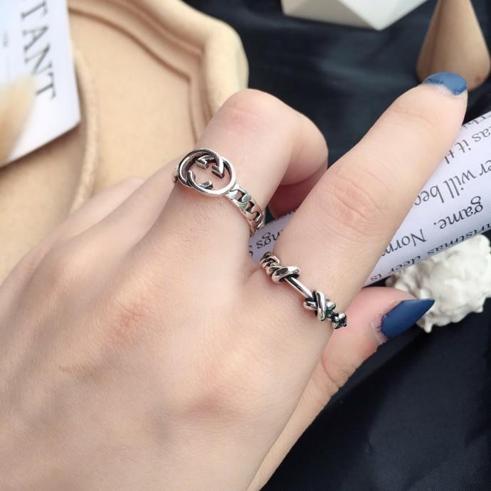 代購Gucci泰銀戒指 情侶款尾戒 鋼戒 銀戒 s925純銀戒指