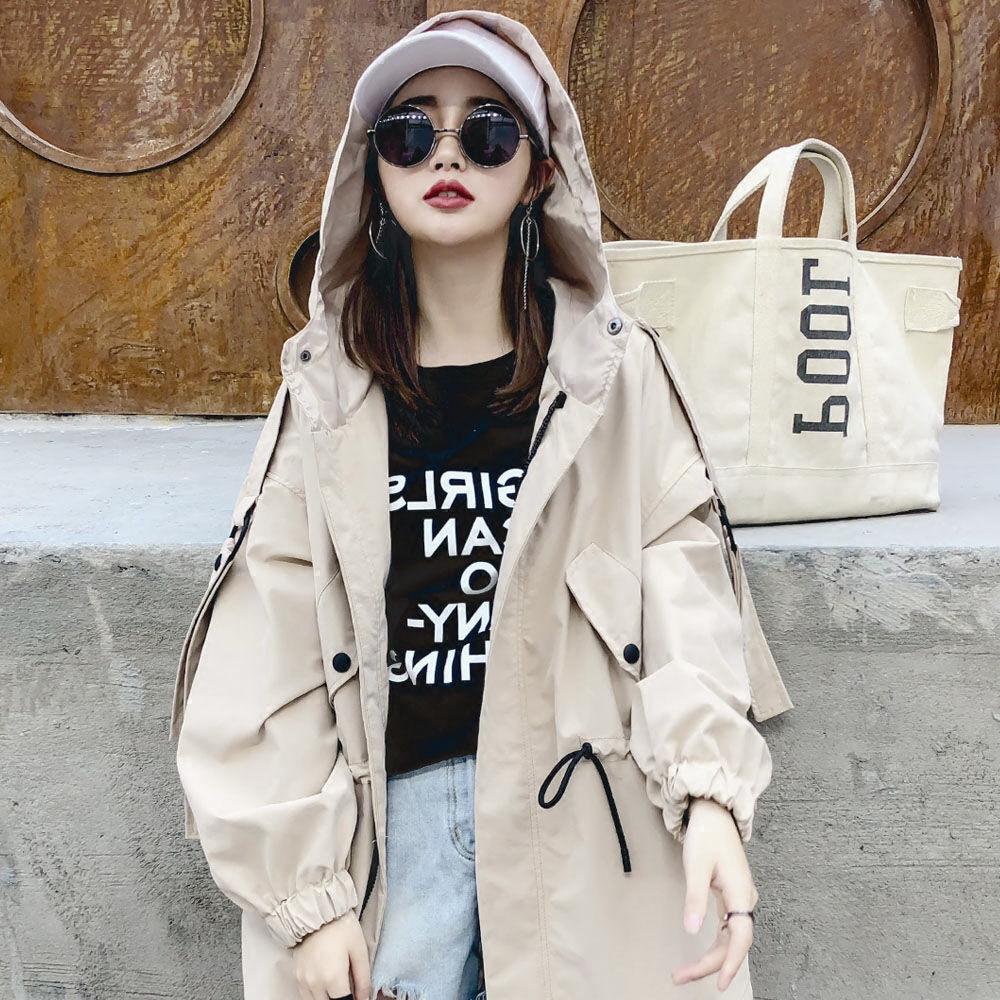 2019新款韓版矮小個子收腰bf學生寬松潮 外套 牛仔外套 時尚 風衣 工裝風衣女短款外套春秋季