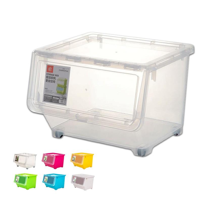 前翻蓋收納箱 置物箱 收納箱 可開式 透明大視窗 掀蓋斜口收納箱 大容量 可疊加 翻蓋收納箱 整理箱 【賣貴請告知】
