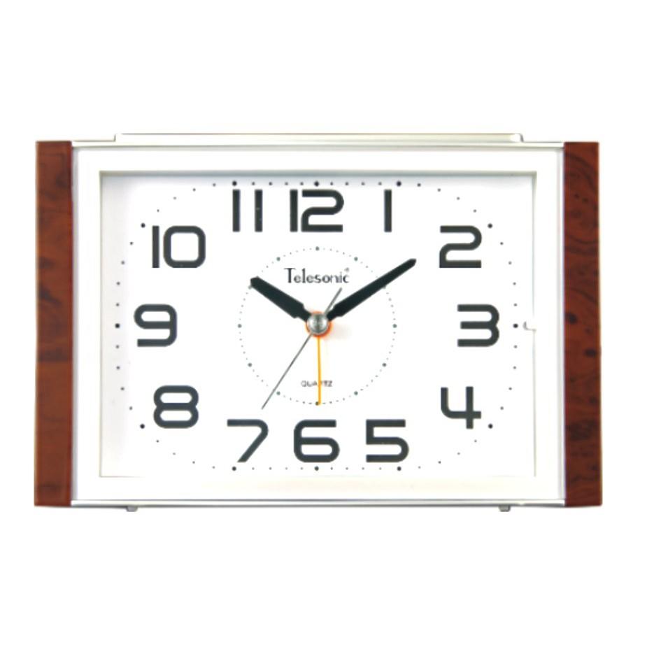 Telesonic/天王星鐘錶 經典再現鬧鐘銀-白 靜音機芯 貪睡功能 音樂鬧鐘