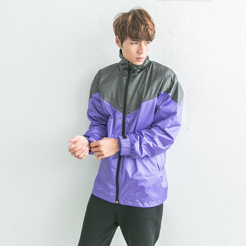 BrightDay御風者風雨衣外套-紫/灰