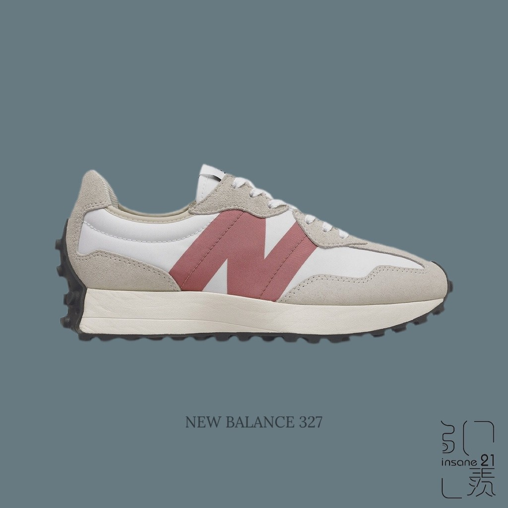 -用卷折200- NEW BALANCE 327 灰色 粉LOGO 男女 情侶款 WS327CD【Insane-21】