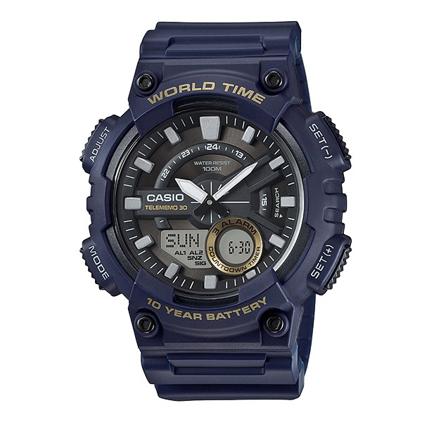 【CASIO】CASIO卡西歐 10年電力 AEQ-110W-2A AEQ-110W雙顯錶款 台灣卡西歐保固一年