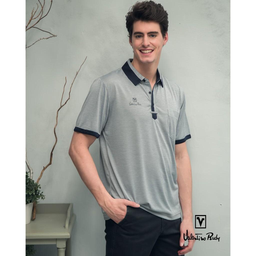 Valentino Rudy范倫鐵諾.路迪-吸濕透氣涼爽機能Polo衫-鴿子灰深藍領 V06A160-94