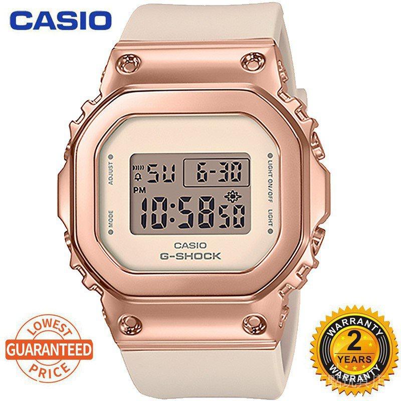 卡西歐手錶女式G休克金屬小方防水學生運動女式手錶gm-s5600果醬手錶