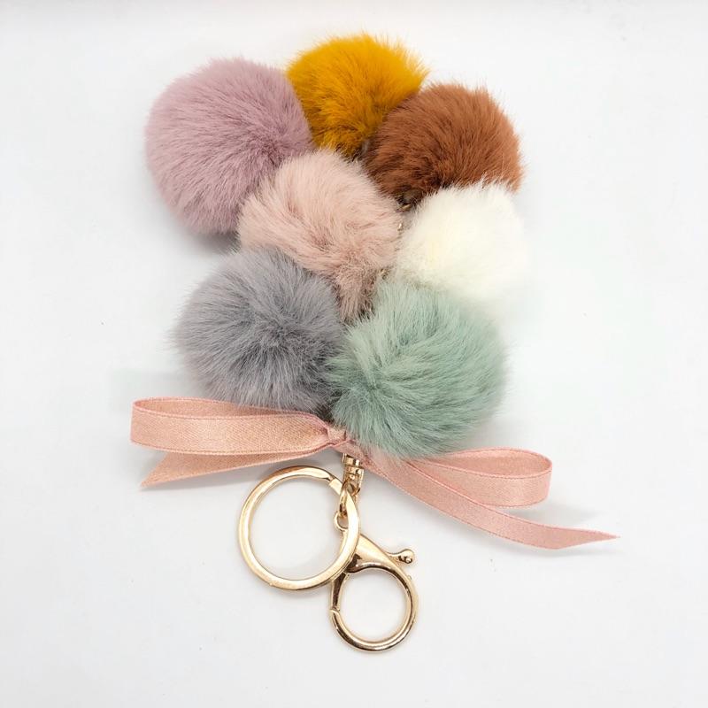 可愛彩色葡萄串柔軟毛球鑰匙圈吊飾