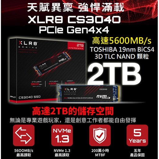 現貨可刷卡 台南高雄【PNY】XLR8 CS3040 2TB M.2 2280 PCIE Gen4x4 SSD 固態硬碟