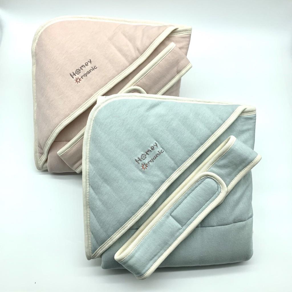 【知蓮有機棉】有機棉鋪棉包巾(粉、藍兩色)