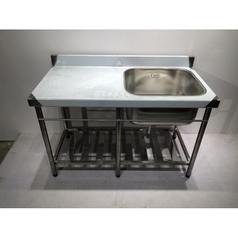 全新 免運費 不鏽鋼加深水槽 120cm水槽+平台 30深 水槽 洗碗槽 洗手台