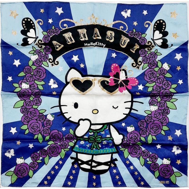 Hello Kitty 2013 Anna Sui 聯名 大的 手絹 方巾 絲巾 手帕 毛巾