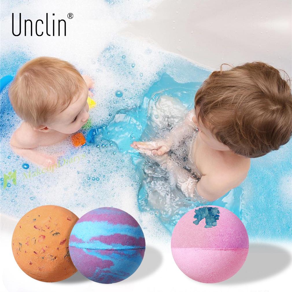 新品現貨 新品促銷 沐浴球 泡澡球 玩具 兒童 跨境UNCLIN彩色泡泡浴鹽球泡澡球8色 植物精油香氛足浴沐浴球64g