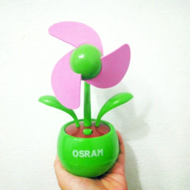 【只有一個/附盒子】小花盆栽造型 USB 電風扇 可裝電池