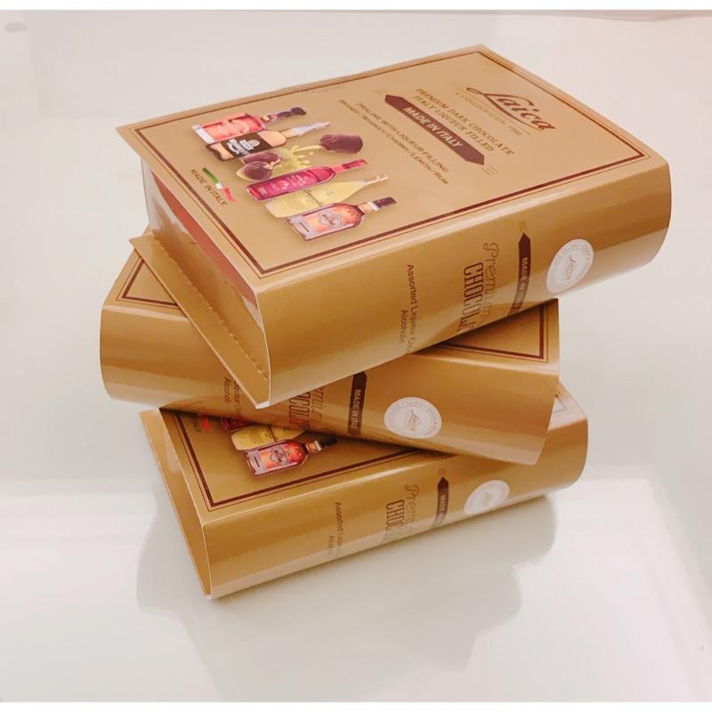 義大利 萊卡 綜合 酒心巧克力 禮盒 巧克力 假書 道具 擺件 白蘭地 威士忌 萊姆酒 伴手禮 酒 夾心 書仿真
