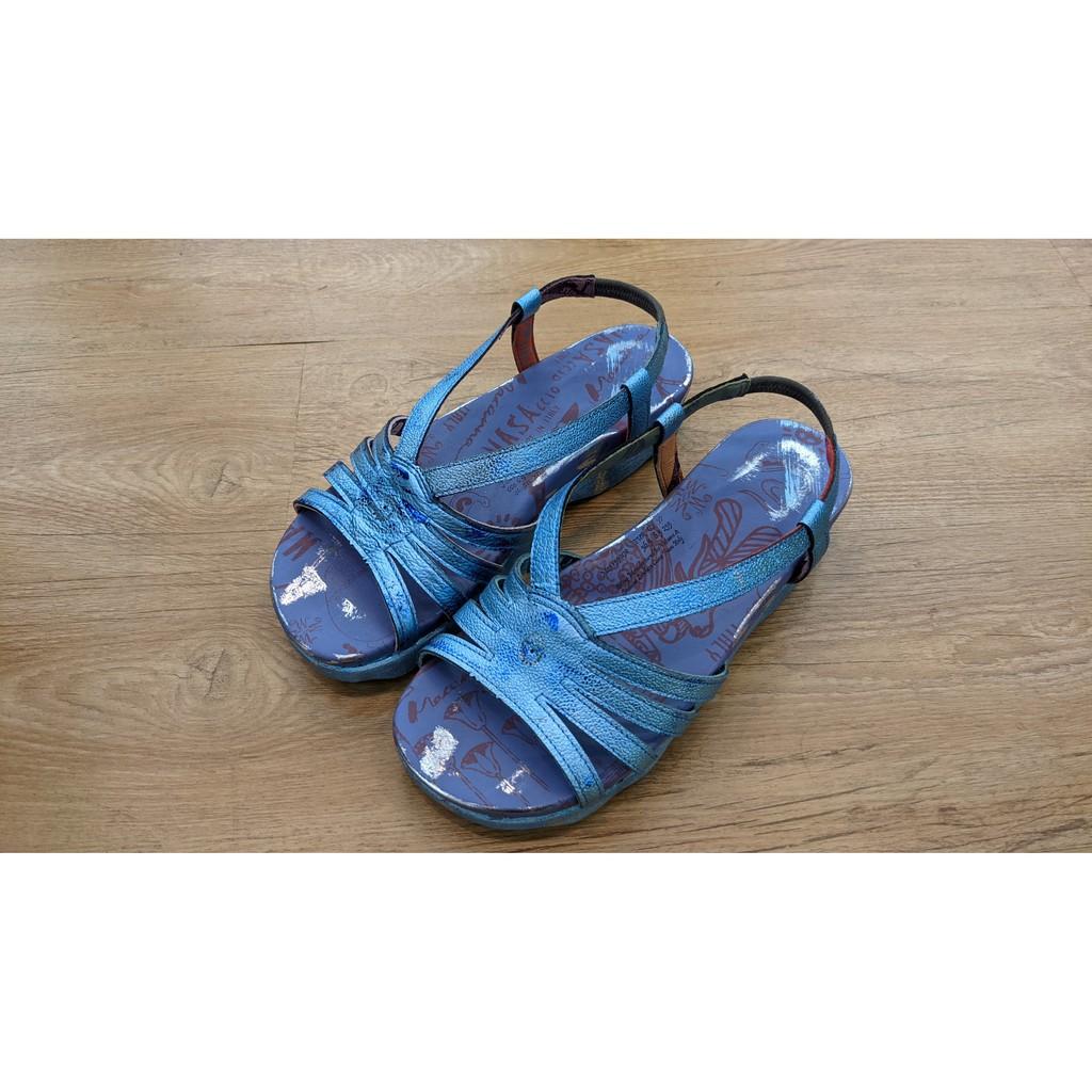 [鸚鵡鞋鋪]MACANNA麥坎納 出清特賣 繆斯系列牛皮素面氣墊涼鞋(藍)