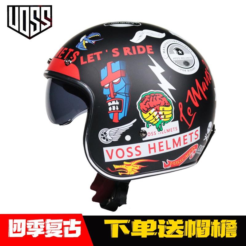 VOSS复古哈雷头盔男女半盔踏板机车头盔半覆式安全帽3/4盔个性酷uax85693