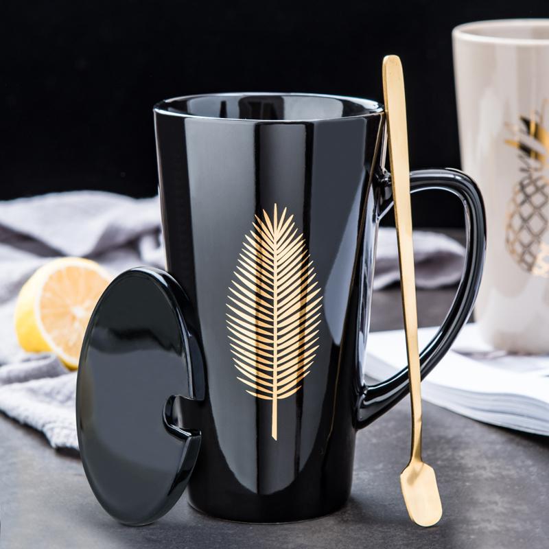 創意北歐陶瓷水杯大容量男生馬克杯帶蓋勺咖啡杯個性家用情侶杯子Vivi