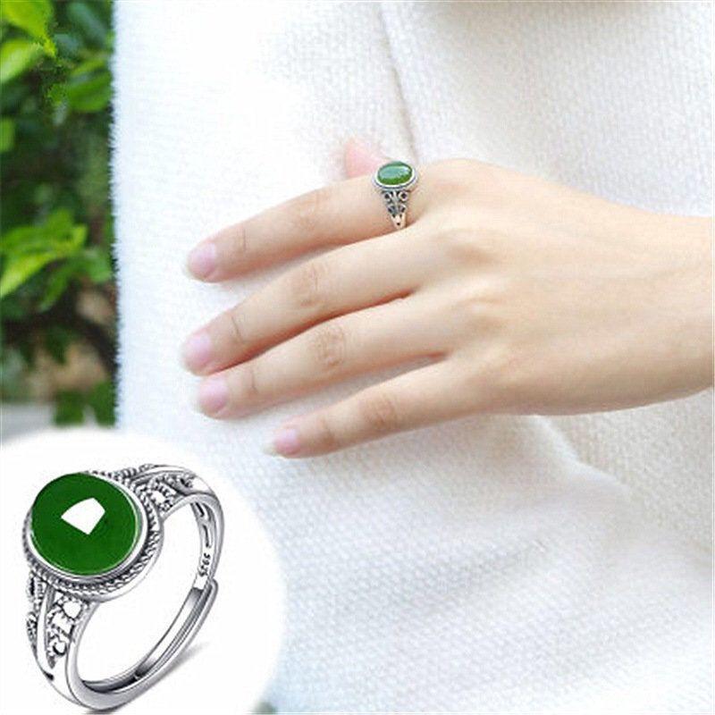 開光/轉運戒指s925銀純銀戒指女天然紅玉髓綠寶石霸氣時尚開口玉石戒指女可調節
