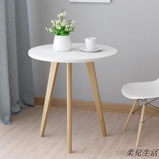 實木茶幾白色小圓桌簡約美式咖啡桌迷你北歐陽臺邊幾角幾休閑邊桌 高雄市