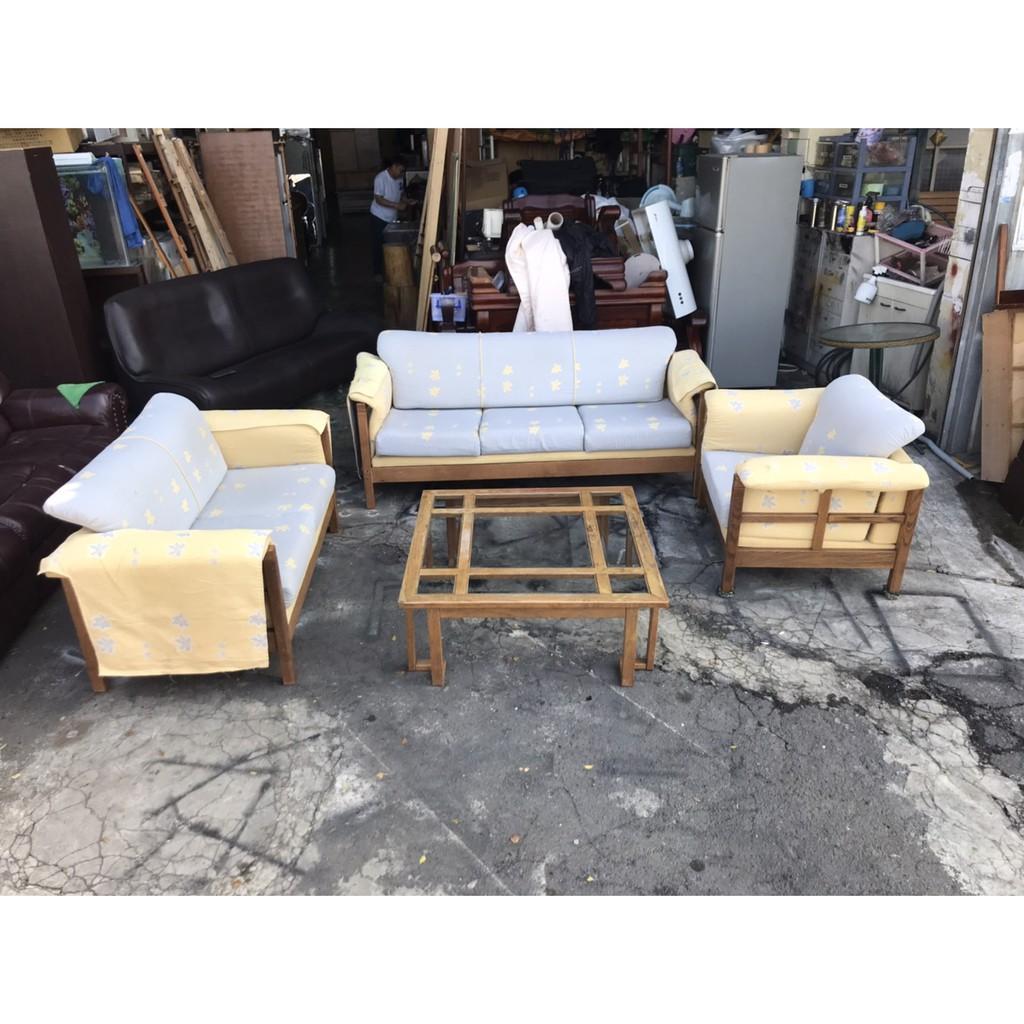 東鼎二手家具 鄉村風實木1+2+3+大茶几沙發組*沙發椅組*木製沙發*木椅*客廳桌*沙發桌*二手沙發*客廳沙發*茶几