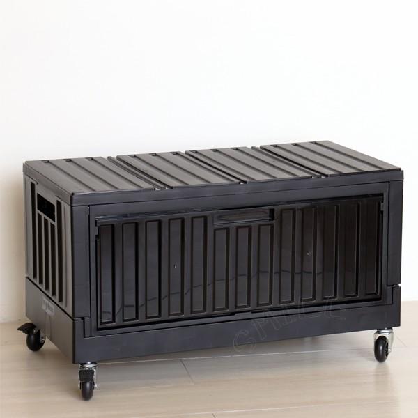 樹德側開式貨櫃收納箱附輪摺疊置物箱折疊整理箱FB-6432S附輪