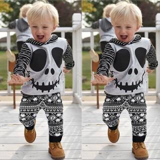 futang幼兒寶寶萬聖節卡通骷髏條紋連帽衫上衣+幾何褲套裝