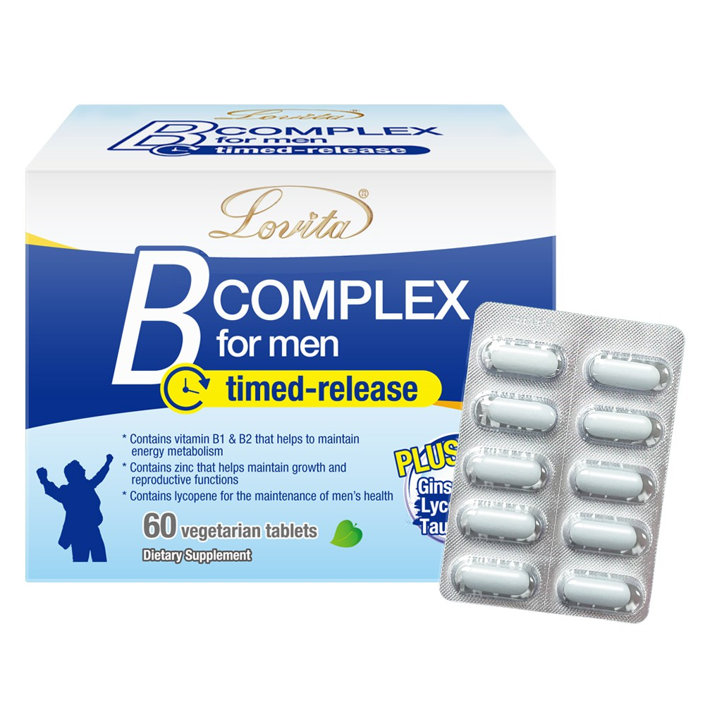 Lovita愛維他 男性長效緩釋型B群素食60錠 (B群+鋅 維他命 B群+硒 牛磺酸 茄紅素 人參 維生素)